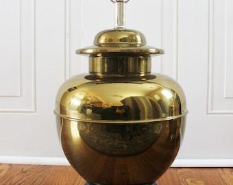 vintage brass ginger jar lamp with wood base, chinoiserie, brass lamp, vintage lighting