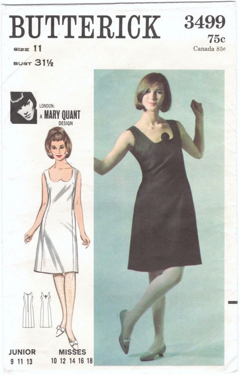 1960s Mary Quant dress pattern Butterick 3499