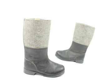Vintage 70s Eastern Front Military Boots Gray Wool & Black Leather Mens Snow Winter Combat Marching Riding  1970s