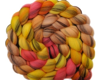 Hand dyed roving - 21.5μ Merino wool combed top spinning fiber - 4.0 ounces - A Wing & A Prayer 1