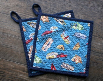RV Camper Camping Potholders Pot Holders - Hand Chenilled Back - Set of 2 - Blue