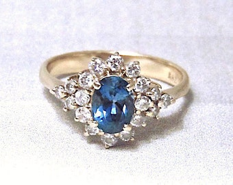 Vintage London Blue Topaz and Diamond Ring in 14K Yellow Gold, Diamond Cluster Ring