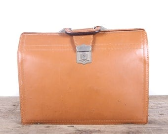 Vintage Rexbilt Cowhide Breif Bag / Leather Briefcase / Antique Brown Leather Suitcase Luggage / Old Suitcase / Vintage Luggage Bag