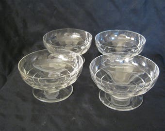 Signed France BACCARAT Clear Crystal Footed SHERBET SET of 4