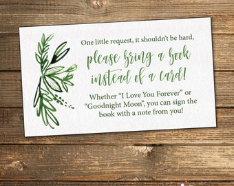 Greenery Baby Shower Book Request Card / Green Baby Shower / Neutral Baby Shower Book Request / PRINTABLE FILE