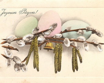 Easter Eggs with Pussy Willows & Brass Bell Antique French Postcard Chromo Post Card from Vintage Paper Attic