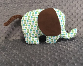 Green, Teal, and Blue Polka Dot Elephant Plushie