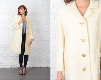 Vintage 60s 70s Cream Mod Coat Peacoat Gold Nubby Knit Medium M 9556