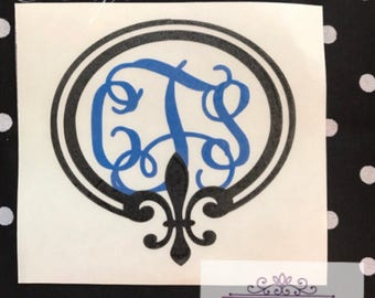 Monogram decal, laptop decal, fleur de lis decal, yeti decal, car decal, personalized decal, fleur de lis monogram