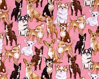 Chihuahuas Dogs on Pink from Timeless Treasures