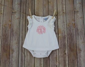 Personalized Baby Girl Outfit, Monogrammed Baby Girl Clothes, Monogram Baby Bubble Romper, Baby Girl Gift Personalized