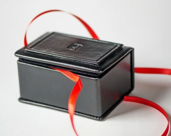 Jewelry box genuine leather, black leather box rectangle, gift box handmade, earrings gift box, rings box minimalist leather storage jewelry