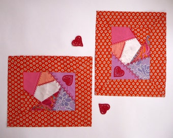 """Two Placemats  patchwork """"Love"""", Embroidered Placemat,  home and living, wedding gift, vintage style,  patchwork, gift for wife"""
