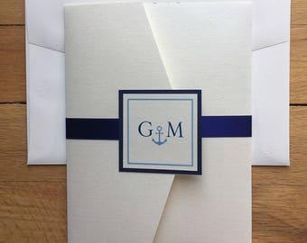 Gina & Michael// Nautical themed 5x7 Pocket Wedding Invitation