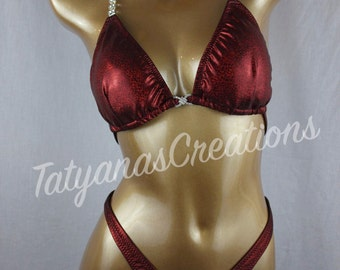 In Stock : Burgundy Holo mist Figure Suit C cup, Small bottom.