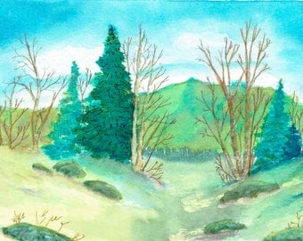 Watercolor Print, Walking through the Woods 2, Wall Decor