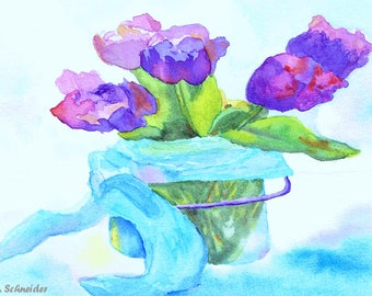 Watercolor Print, Loose Flowers, Wall Decor