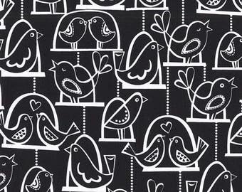 SHOP CLOSING SALE Michael Miller fabric for quilt or craft Bird Swing in Black Half Yard