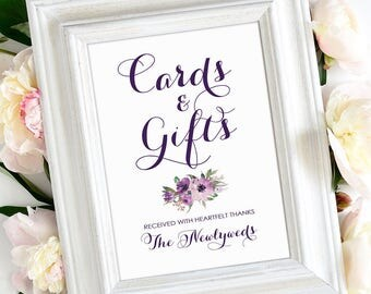 Cards and Gifts Sign   5 x 7   Vintage   Eggplant   Purple Blooms   PDF and JPG Files   Instant Download