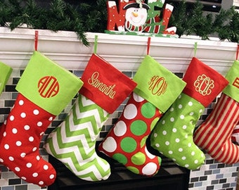 Christmas Stockings Christmas Stocking Personalized Christmas Stocking Monogrammed Christmas Stocking 16 Patterns Availble