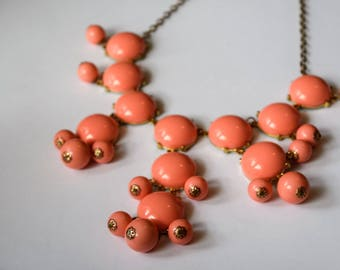 Vintage Melon Lucite Drape Necklace