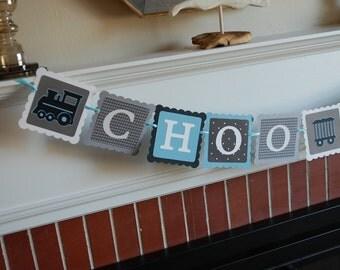 Choo Choo Banner, All Aboard, Train Theme, Train Birthday, Train Baby Shower, Black, Grey, Light Blue