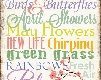 "Spring Words Sign // Seasonal Word Art // Home Decor Sign //  12"" x 16"""