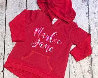 Valentine's day - Monogrammed Lightweight Hoodie - Valentine's Day pullover Monogrammed Jacket - Girl's Pullover - Monogrammed Girl's shirt