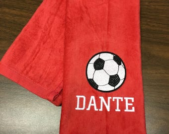 10 Personalized soccer towel, fast turn around, embroidered towel, name and ball, any towel color, message for team orders, PLEASE!