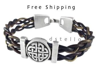 Celtic bracelet, Celtic knot, Eternal knot, Eternity knot, Celts, Women, Mens jewelry, Leather bangle, Customized, Antique,