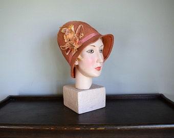 1920s straw cloche . vintage 20s pink cloche hat