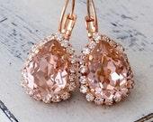 SALE Blush earrings,Rose gold earrings,Rose gold bridal earrings,blush pink bridesmaid earrings,blush Drop earring,Swarovski earring,blush