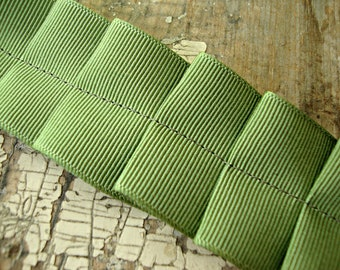 Handmade Vintage Sage Ruffled Ribbon Trim