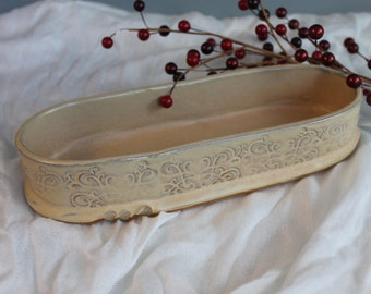 Oval Asperagus Dish - yellow - candy dish - key tray - catch all