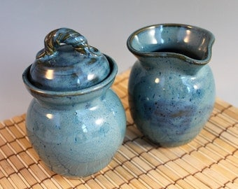 Blue Cream and Sugar Set - kitchen - gift for mom - ready to ship - pottery