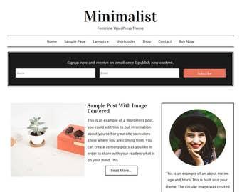 Minimalist: Feminine WordPress Theme Built for Beginner and Intermediate Bloggers