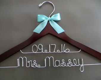 2 Line Wedding Hanger, Silver Wire Hanger, Two Line Wedding Dress Hanger, Name Date Hanger, Shower Gift, Bride Gift, Engagement Gift