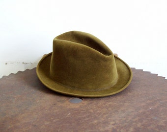 Vintage fedora Abercrombie & Fitch Canadian Velour size 7 1/8 olive green brown unisex hat