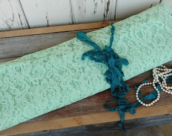 Vintage Seafoam Green Floral Lace Fabric - Retro Pastel Lace Netting, Craft + Millinery Supplies, Dress Overlay Fabric, Seamstress Fabric