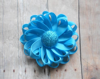 Turrquoise Loopy Flower Spring Summer Solid Hair Bow