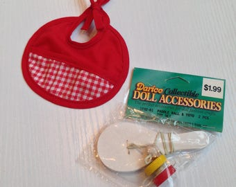 Dolly Fun...Wooden Paddle Ball, Wooden YoYo and Red Cloth Bib