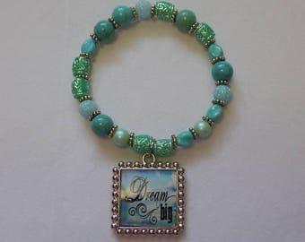 Dream Big, Aqua Beaded Stretch Bracelet with Inspirational Pendant Charm, 7 inches