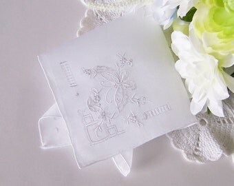 Wedding Hanky Bride's Handkerchief in White with Embroidered Butterfly Design, Something Old Heirloom Quality, Shower Gift