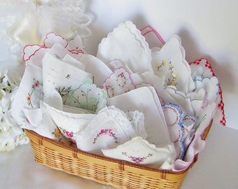 Wedding Favors Vintage Handkerchiefs for a Bridal Luncheon, Shower Invites, or Thank You Gifts, Embroidered Florals on White, Set of 24