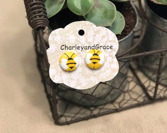 Bee button earrings with post back