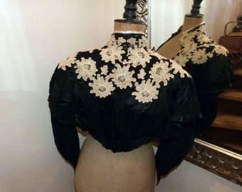 Antique French Victorian black silk w lace blouse jacket w handmade needle lace 1800s gothic steampunk clothing goth vestment made in France