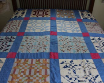 Vintage handmade flying geese quilt