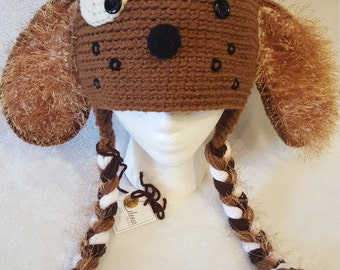Girl Boy Puppy Dog Fuzzy Earflap Beanie hat .Any size, any color.