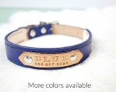 Large Custom Lined Leather Dog Collar with Name Plate