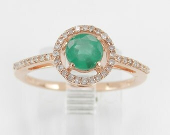 Emerald and Diamond Halo Engagement Ring Promise Ring Rose Gold Size 6